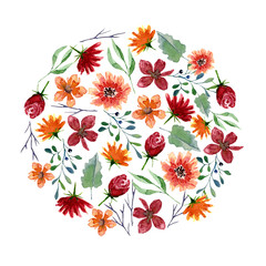 Round pattern of watercolor flowers and leaves. Bright autumn print in circle shape with floral elements
