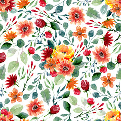 Seamless texture of watercolor flowers and leaves. Bright autumn print with foliage and floral elements