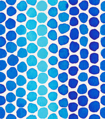 Hand painted watercolor seamless pattern with indigo blue polka dots. Abstract modern background, illustration.