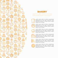 Bakery concept with thin line icons: toast bread, pancakes, flour, croissant, donut, pretzel, cookies, gingerbread man, cupcake, burger, apple pie. Modern vector illustration, print media template.