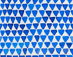 Hand painted watercolor seamless pattern with indigo blue triangles. Abstract modern background, illustration.