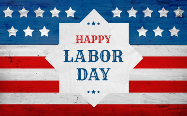 Happy Labor Day greeting, american flag banner, patriotic background with text