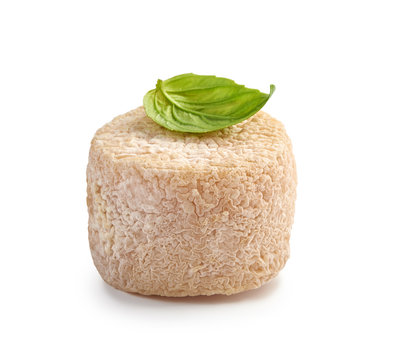 Crottin cheese with basil leaf isolated on white background