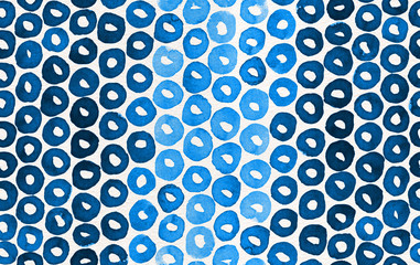 Hand painted watercolor seamless pattern with indigo blue loops. Abstract modern background, illustration.