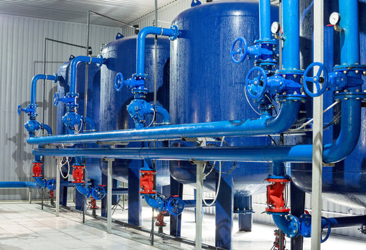 Water purification filter equipment in plant workshop