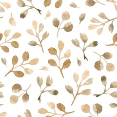 watercolor hand painting eucalyptus branches. seamless pattern on a white background