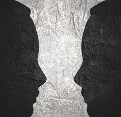 A vase or two face profile view. Optical illusion. Human head make silhouette of goblet
