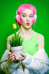 funny girl with flower pot