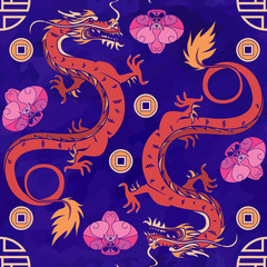 Seamless oriental pattern with dragons and orchids, chinese ornament on a watercolor background