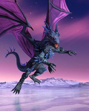Crystal Dragon Descends into Icy Landscape