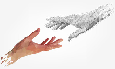 Low polygonal hands, human and robot arms, partnership of people and robots, computer graphics Wall mural