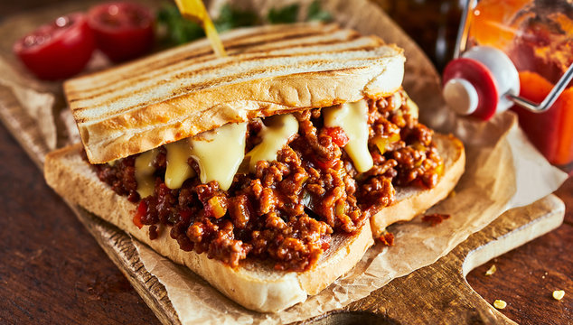 Sloppy joe sandwich with ground meat and cheese