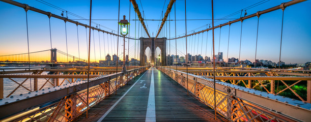 Zelfklevend Fotobehang Brug Brooklyn Bridge Panorama, New York City, USA