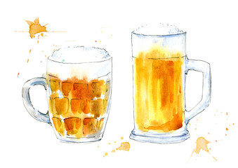 Glass of a beer. Picture of a alcoholic drink. Watercolor hand drawn illustration.White background.
