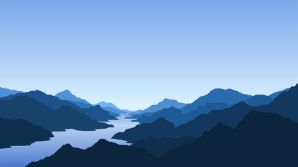 Landscape with mountains and river, view, nature, mountain range, clear sky