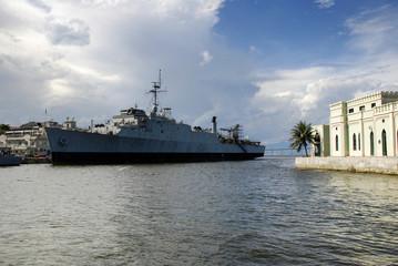 Warship at the Rio de Janeiro harbor