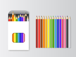 Realistic Detailed 3d Box of Colored Pencils and Pencil Set. Vector