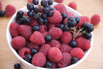 raspberry and aronia in bowl on the table