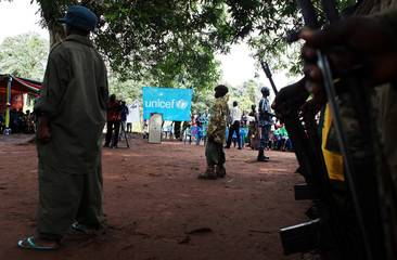 Former child soldiers attend a child soldiers' release ceremony, outside Yambio
