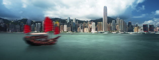 Hong Kong harbour, long exposition
