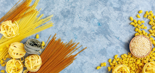 Different types of pasta from durum wheat.