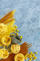 Different types of traditional Italian pasta.