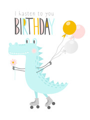 Cute crocodile with balloons and flower on rollers.Happy birthday. Greeting card, banner, poster. Vector illustration