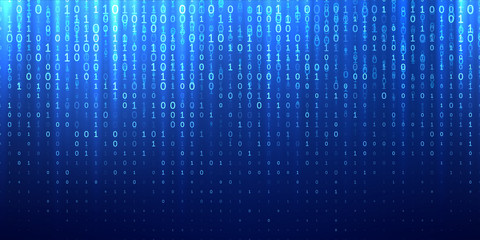 Binary matrix code blue abstract background