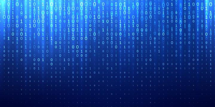 Binary matrix code blue abstract background