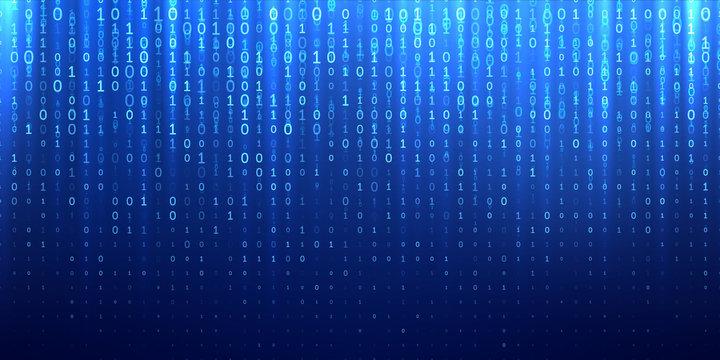 Binary matrix 1 0 bits blue abstract background