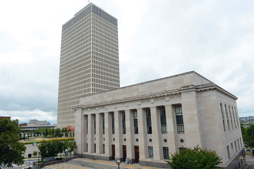 Tennessee Supreme Court Building next to the State Capitol was built in 1937 in Nashville, Tennessee, USA.