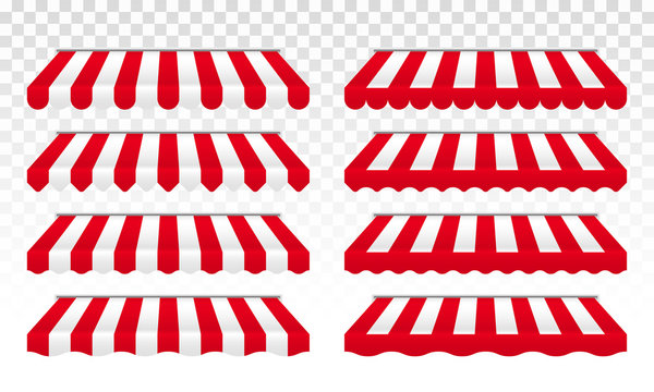 Awning tent with vector red and white stripes