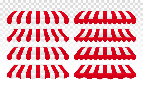 Awning tents vector striped isolated set