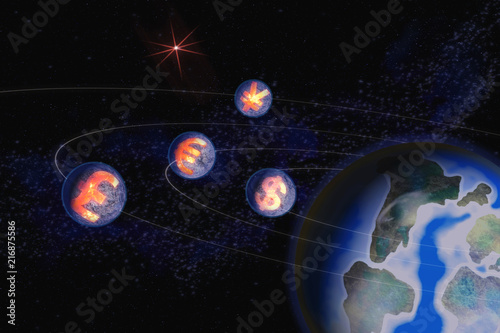 Abstract Image Of Symbols Of World Currencies Of American Dollar