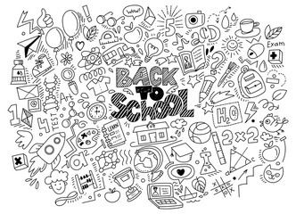 Hand drawn back to school doodles and sketch style lettering on background. Vector black and white linear illustration. For banners, posters, flyers. A lot of education icons, study symbols