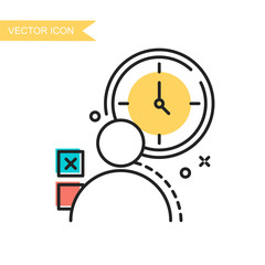 Modern and simple flat vector illustration. Icon silhouette of man and clock. Image for website, presentation, interface on white isolated background