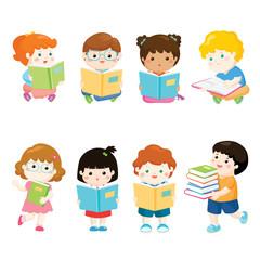 kids reading books for education vector set