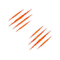 Vector Beast Clows Marks Isolated on White Background, Halloween Orange Colorful Decoration.