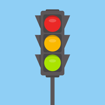 Traffic light isolated icon. Green, yellow, red lights vector illustration on blue sky background. Road Intersection, regulation sign, traffic rules design element.
