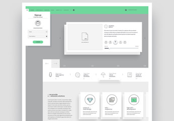 Website Layout with Illustrated Icons