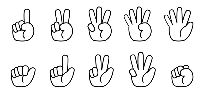 Finger counting line icon. Cartoon Super Deformation (SD) style. Vector illustration.
