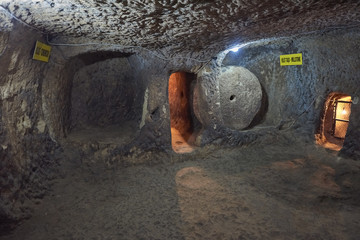 Turkey, tunnels of the ancient city-refuge Derinkuyu.