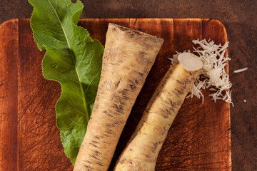 Horseradish roots and grated.