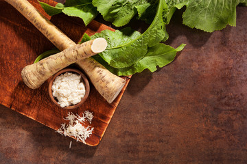 Horseradish, whole and grated..