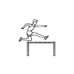 Sportsman running and jumping over obstacles hand drawn outline doodle icon. Obstacles and hurdle run concept. Vector sketch illustration for print, web, mobile and infographics on white background.