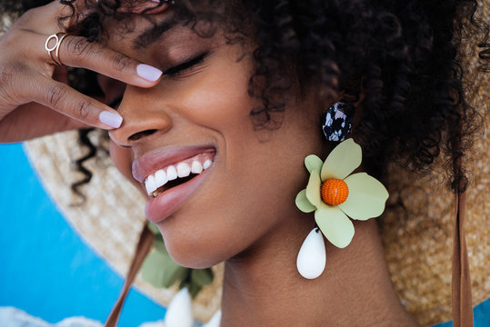 Close up of a beautiful black woman smiling