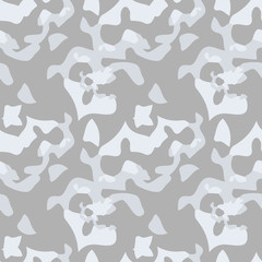 UFO military camouflage seamless pattern in different shades of grey color