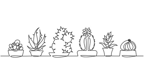 Continuous Line Drawing of Vector Set of Cute Cactus Black and White Sketch House Plants Isolated on White Background.