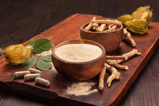 Ashwagandha supplement. Ayurvedic medicine.