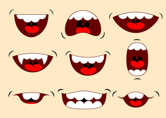 Vector illustrations of funny cartoon mouth with different expressions. Vector illustration